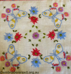 Vintage Square with Butterflies stitched by Cecilia Skene