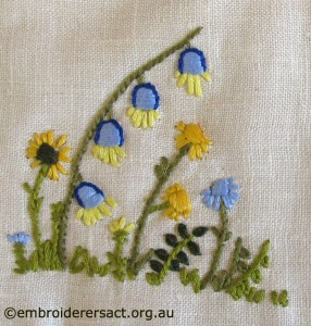 Vintage Square with Flowers stitched by Cecilia Skene