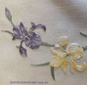 Vintage embroidery of Iris