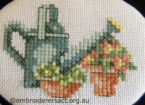 Watering can x stitch by Diana Churchill challenge