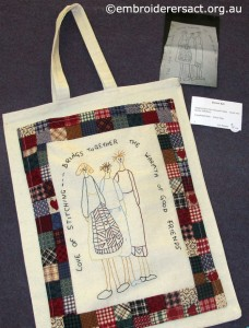 bag with Patchwork and stitchery Dianne Sell challenge