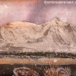 Close up of Contemporary stitched landscape