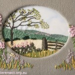 Stitced Country Scene with Pink Flowers