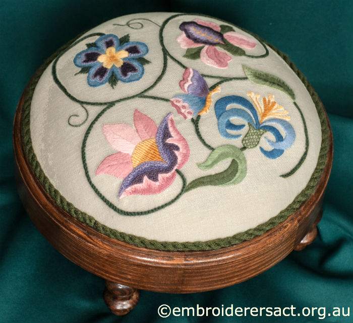 Crewel embroidery stool