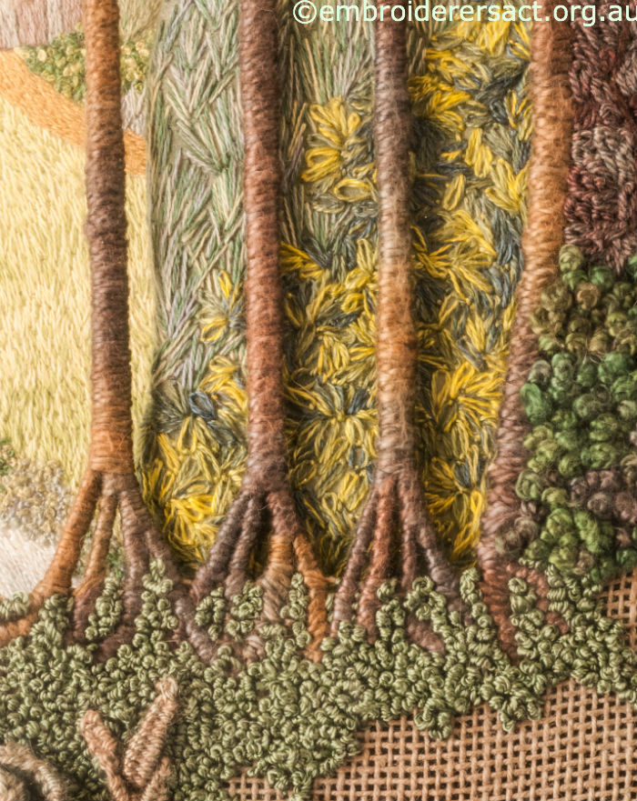 Detail of trees from Fountain Abbey embroidery