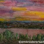 Stitched sunset scene