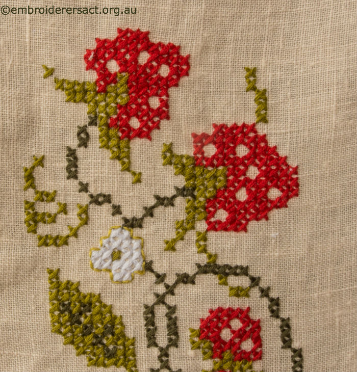 Detail 2 of Vintage Tablecloth with Strawberries