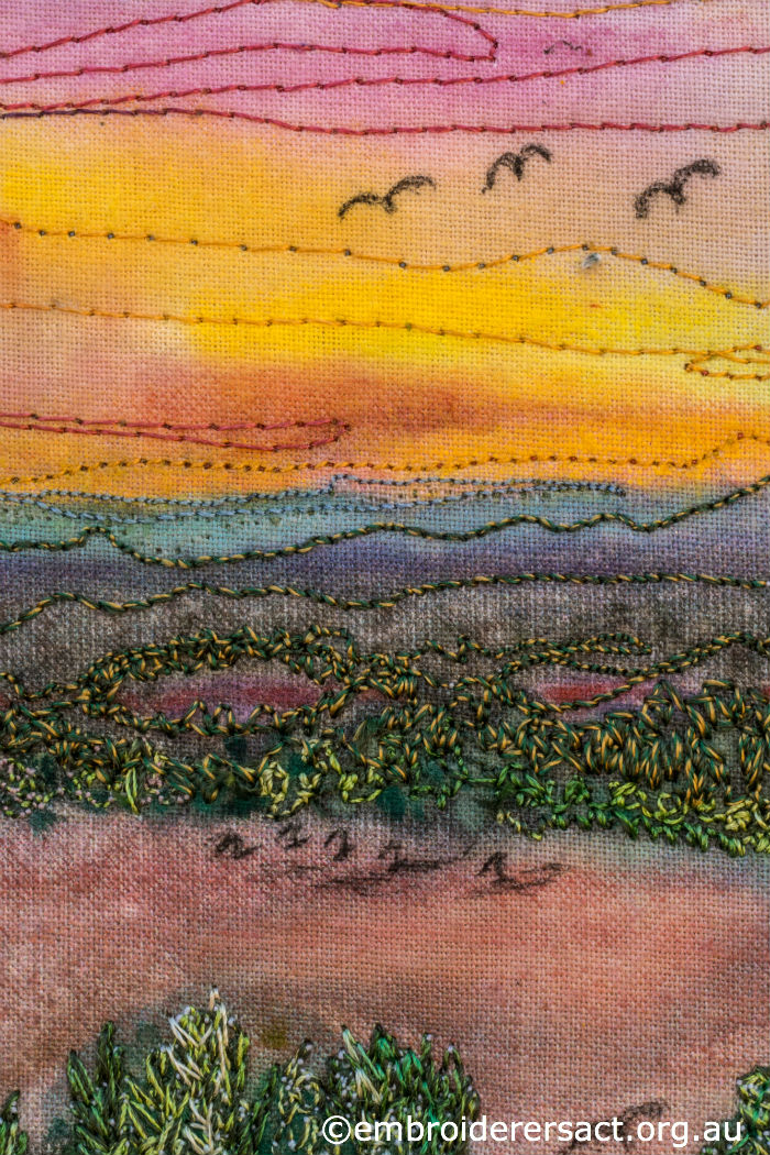 Stitched sunset scene