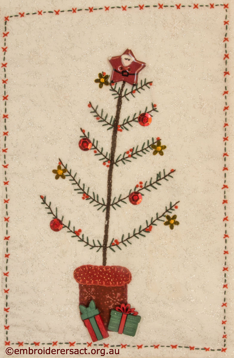 Detail of Christmas Tree stitchery