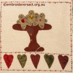 Detail of Gingerbread men stitchery