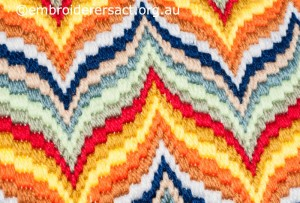 Detail of Bargello Cushion  stitched by Bill Thorn