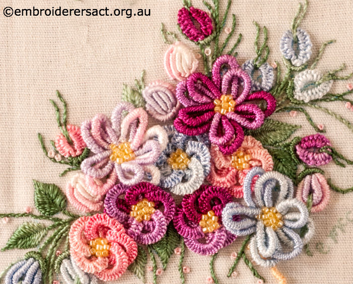 Detail of Vase of Flowers in Brazilian Embroidery