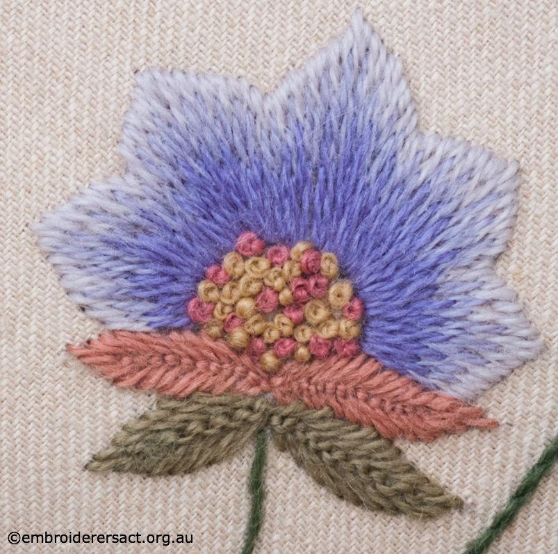 Detail of Fan Shaped Blue Flower