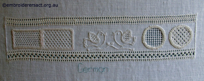 Detail of German embroidery