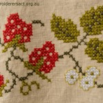 Detail of Vintage Tablecloth with Strawberries