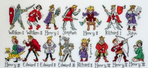 First two rows Kings and Queens x-stitched by Barbara Bailey