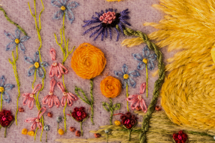 Flower Detail around embroidered Duckling