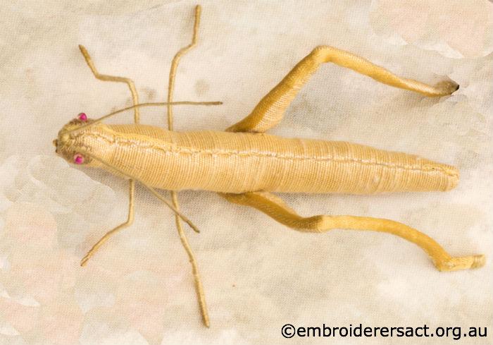 Stumpwork Grasshopper
