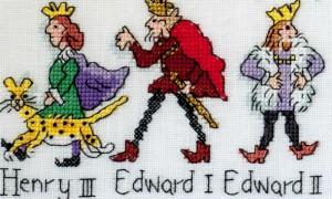 Henry III Edward 1 and II X-stitched by Barbara Bailey