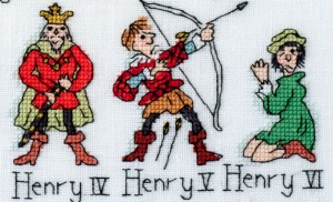 Henry IV to Henry VI x-stitched by Barbara Bailey