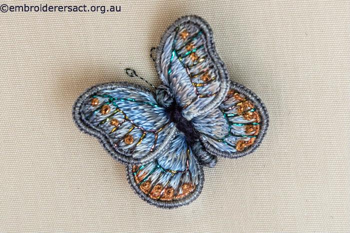 Stumpwork Butterfly detail