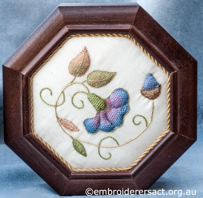 Octagonal Box Lid with Needlelace & Goldwork