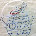Rabbit in Teapot Stitchery