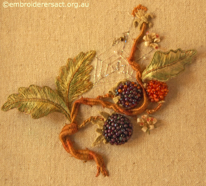 Raspberries Stumpwork by Lesley Fusinato