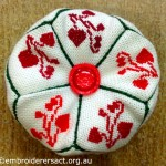 Red Heart Flowers Biscornu