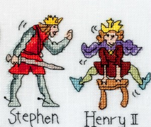 Stephen and Henry II x-stitched by Barbara Bailey