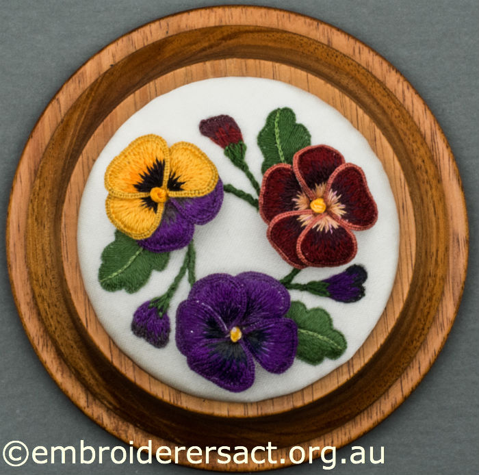 Stumpwork Pansies