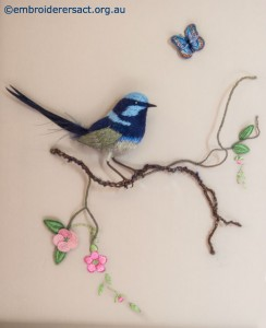 Stumpwork Wren on Twig by Lorna Loveland