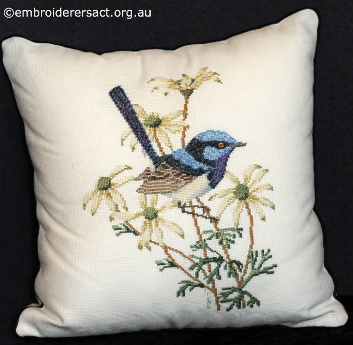 Superb Blue Wren Pillow