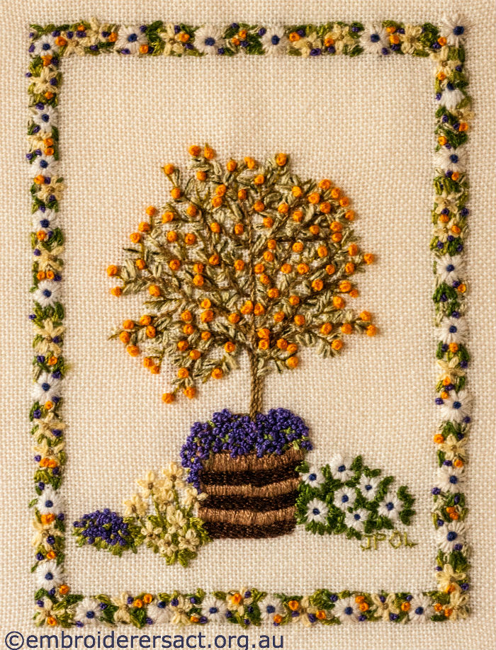 The Cumquat Tree stitchery