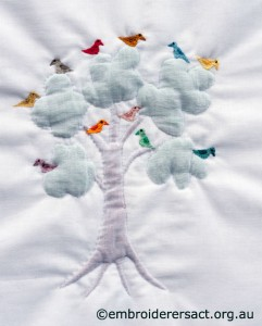 Trapunto Tree with birds by Pat Bootland