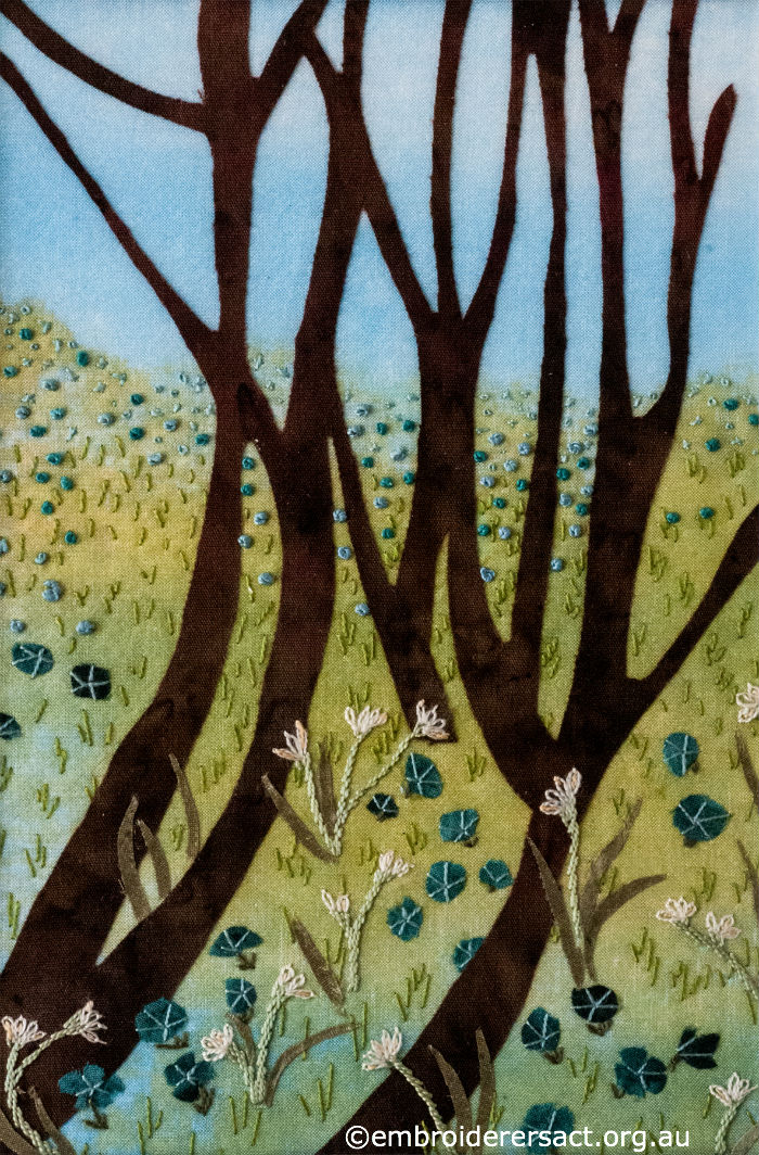Trees in Field of Flowers - Contemporary Embroidery
