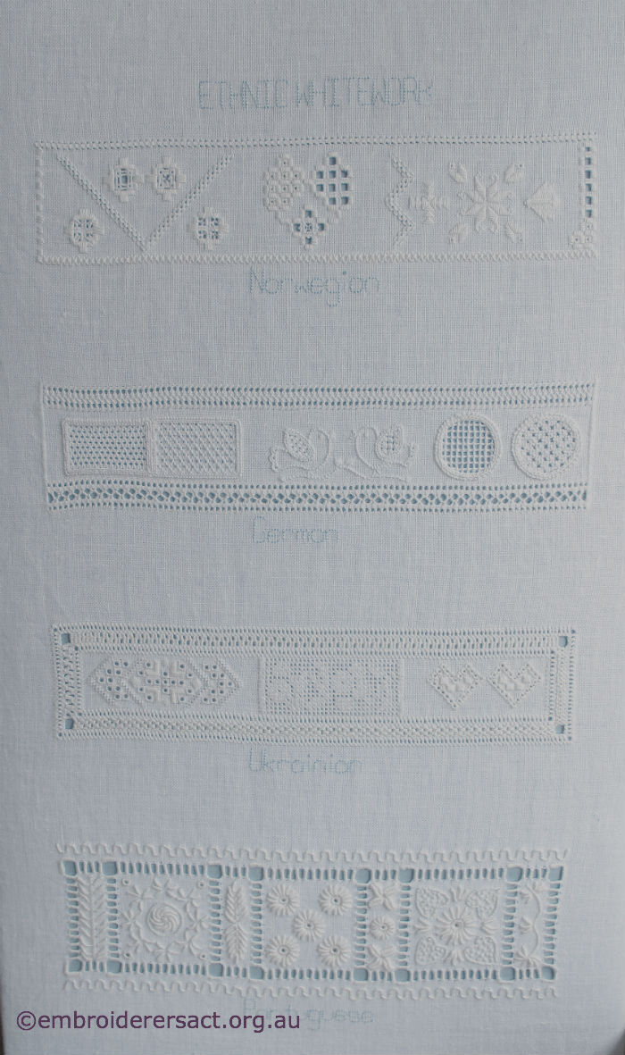 Whitework sampler stitched by jan hure embroiderers
