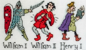 William I and II and Henry I x-stitched by Barbara Bailey