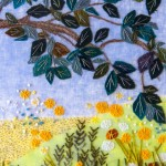Stitched field of flowers