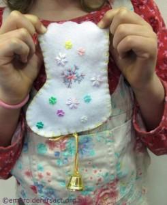 Adele Young Stitcher Xmas stocking ornament