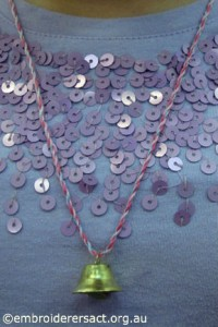 Kathryn Young Stitchers Xmas necklace