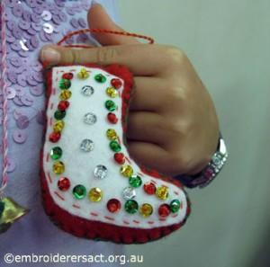 Kathryn Young Stitchers Xmas stocking ornament