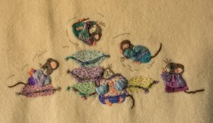 Mice on rug 1 stitched by Lesley Fusinato