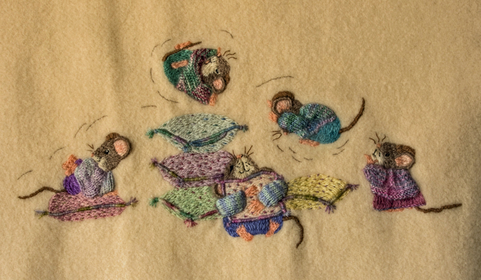 Cute Mice on Wool Blanket