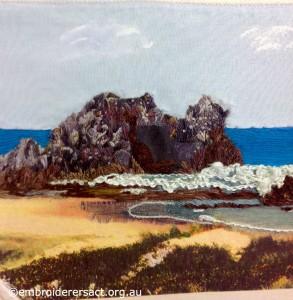 Agnes Sciberras - close-up of South Coast Seascape in Progress