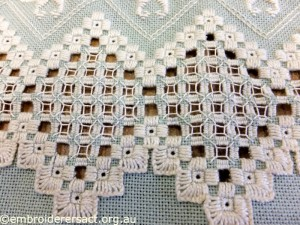 Anne Lond - Finished Edges on Green Hardanger in Progress