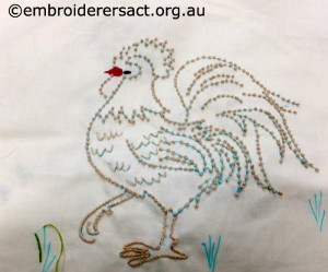 Barbara Adams - Candlewick Rooster in Progress