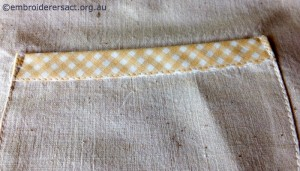 Bias Binding on Vintage Semco Apron stitched by Carmen Zanetti