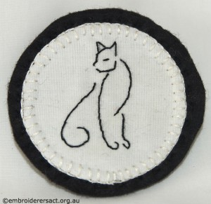 Black Cat Brooch stitched by Jillian Bath