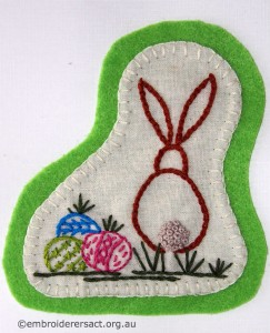 Easter rabbit on Green Background Card stitched by Jillian Bath